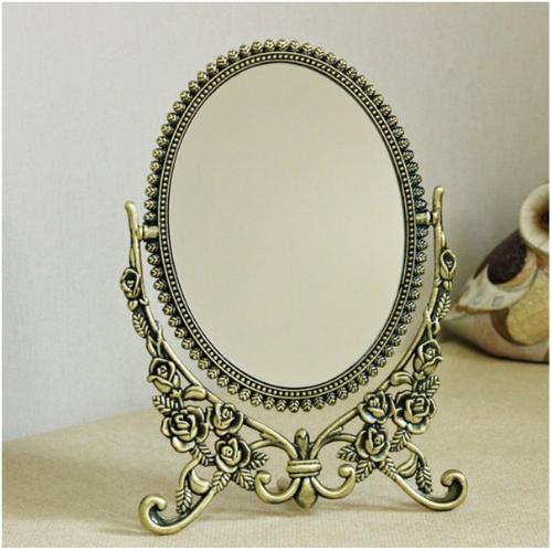 卓上ミラースマイルバラ卓上ミラー(大) スタンドミラー 鏡 テーブルミラ アンティークミラー 化粧鏡 オーバルミラー アンティーク風 姫系 ロココ調 ミラー 楕円