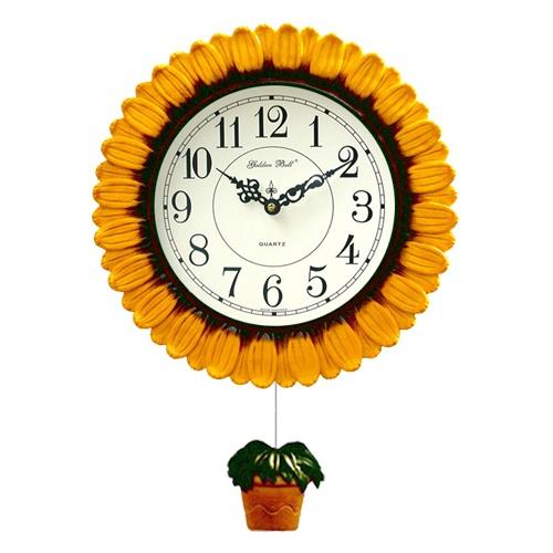 掛け時計 サンフラワー 掛け時計 壁掛け時計 おしゃれ 電波時計 掛時計 北欧 時計 インテリア 振り子時計