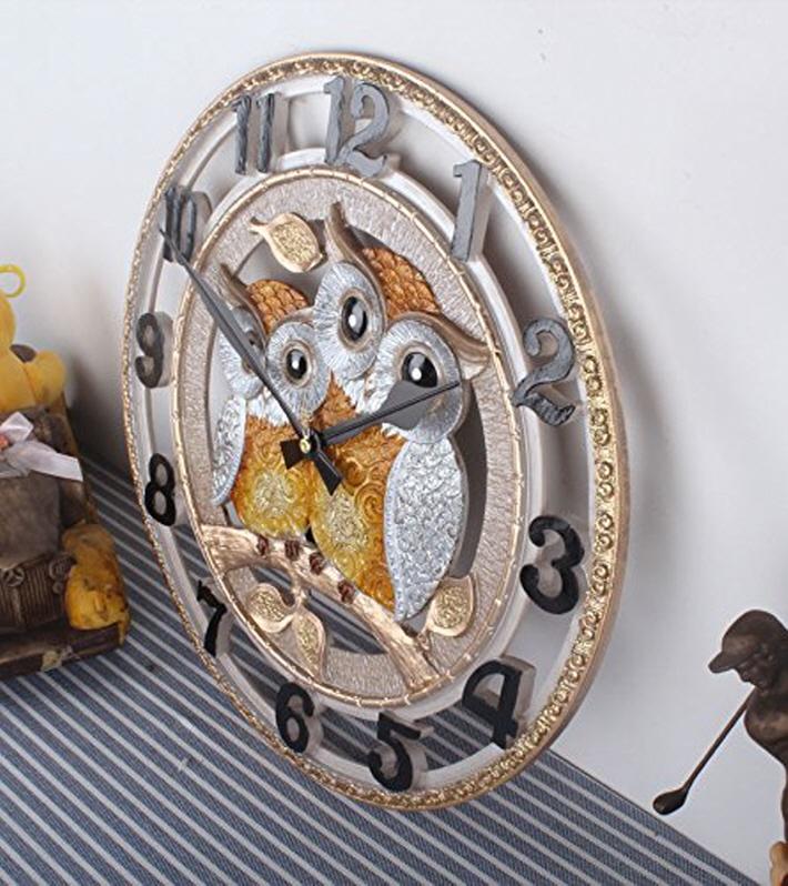通信販売 掛け時計 フクロウ 掛け時計a ふくろう 静か 壁掛け 手作業 おしゃれ ゴールド デザイン 無音 新築祝い 韓国 送料無料 インテリア 開催中 北欧 プレゼント