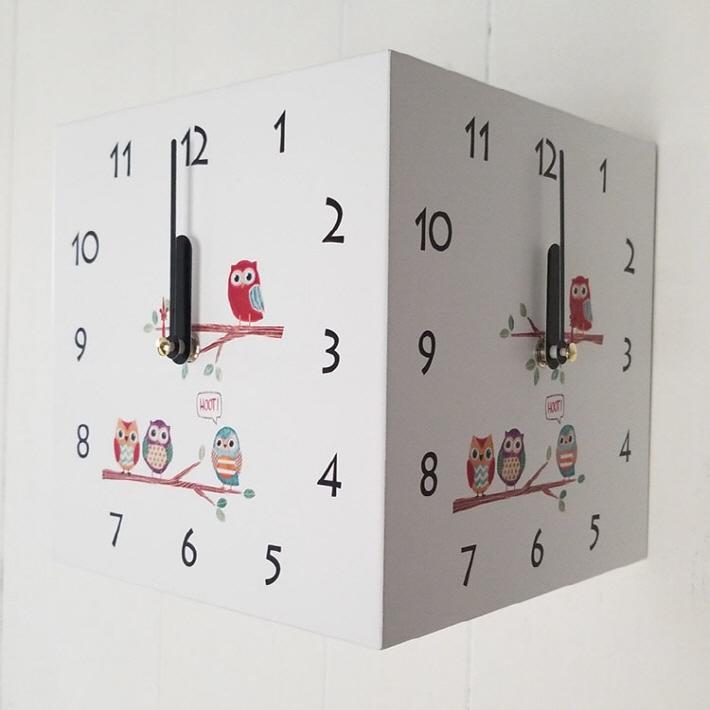 天然木三面時計フクロウ