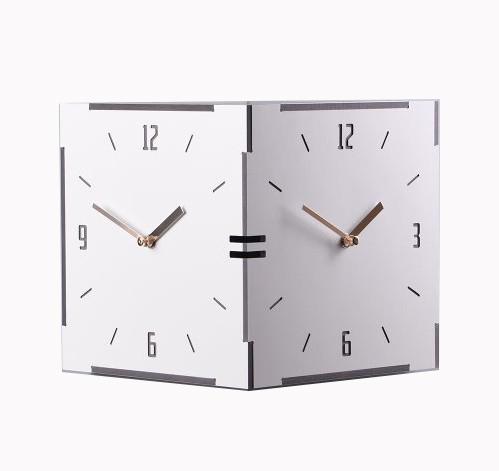 コーナー両面時計-white ハンドメード 木製両面壁掛け時計 おしゃれ 掛時計 両面時計 壁掛け時計 電波時計 電波 北欧 時計 インテリア