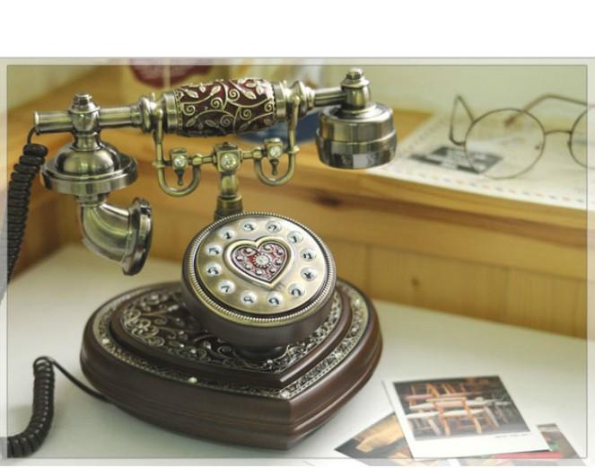 アンティーク電話機 77BG-R ヨーロッパ風 装飾電話機 プッシュ式 骨董品 インテリア電話機 クラシック レトロ調