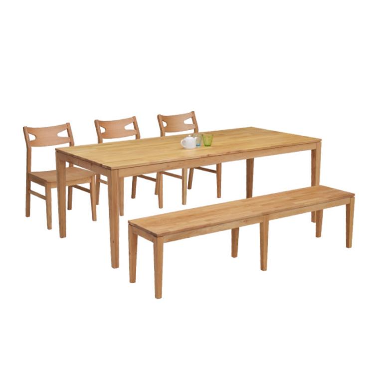 ダイニングテーブルセット 5点 ナチュラルオーク 幅180cm 5人掛け 板座 木製 ベンチチェア kapuri180-5-roza351 モダン カントリーテイスト カフェ風 ナチュラルキッチン 食卓セット ウッドダイニング シンプル 木目 アウトレット 35s-4k hr