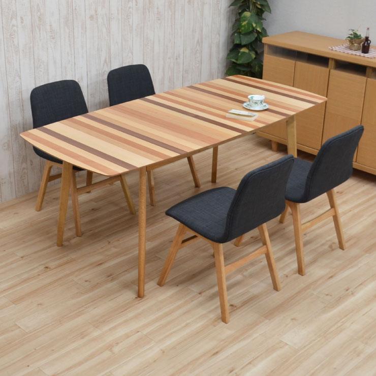 ダイニングテーブルセット 140/180 5点セット 伸長式 pani140mix-5-339nodgy 4人掛け ダイニングセット ボーダー ファブリック 伸縮式 クッション 伸張式 ミックス ウッド 食卓 北欧風 リビング テーブル 22s-5k nk