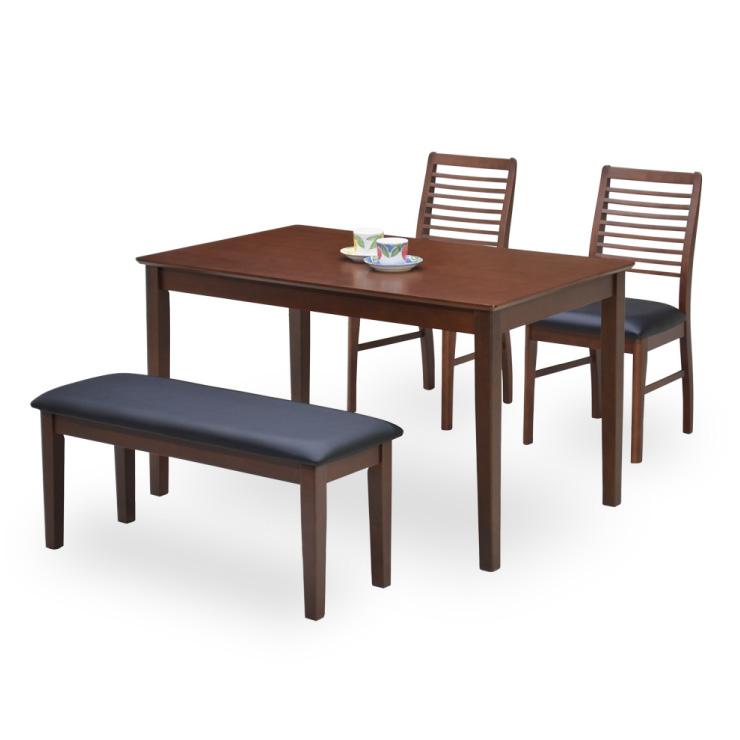 ダイニングテーブルセット 4点セット 幅120cm BKシート ベンチ 木製 ac120-4-kara371 ダークブラウン色 黒 ブラックシート ウッドダイニング 4点 4人掛け 4人用 食卓 ダイニングチェア クッション モダン シンプル アウトレット 14s-3k