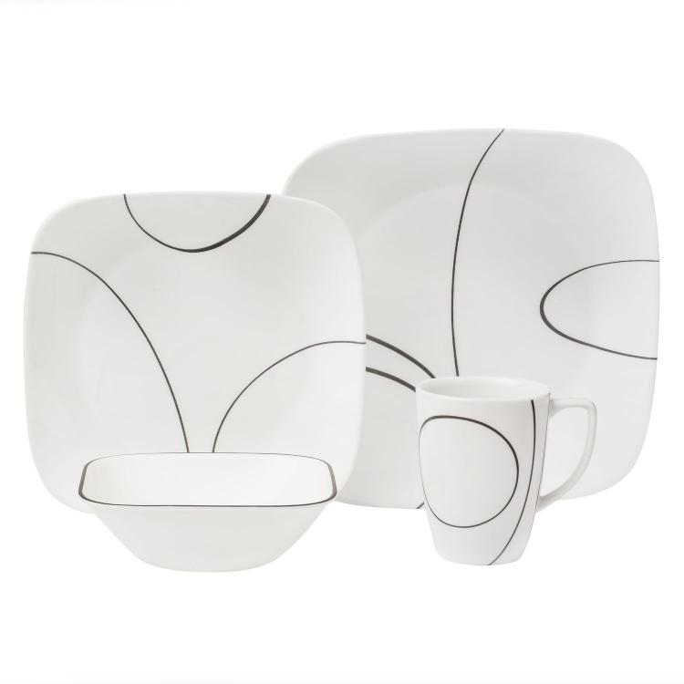 Corelle コレール ディナーウェアー16点セット シンプル・ライン Squareシリーズ 地球家具 【532P16Jul16】