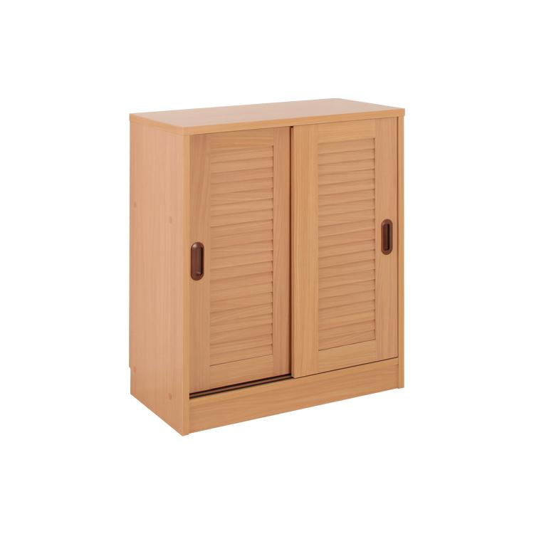 【地球家具】最大約60足 大容量 玄関収納 【ルーバー引き戸シューズラック】 [湿気や臭い対策に 通気性のいいルーバー扉構造] [棚の位置が14段階調節可能] [穴隠しシール付] 幅75cm ロータイプ