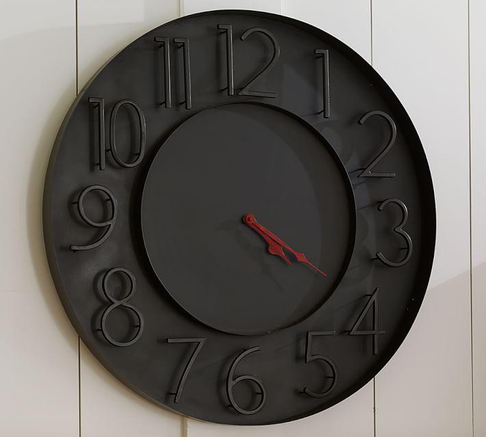 Pottery Barn teen 時計 モダン ブラック メタル ウォール クロック