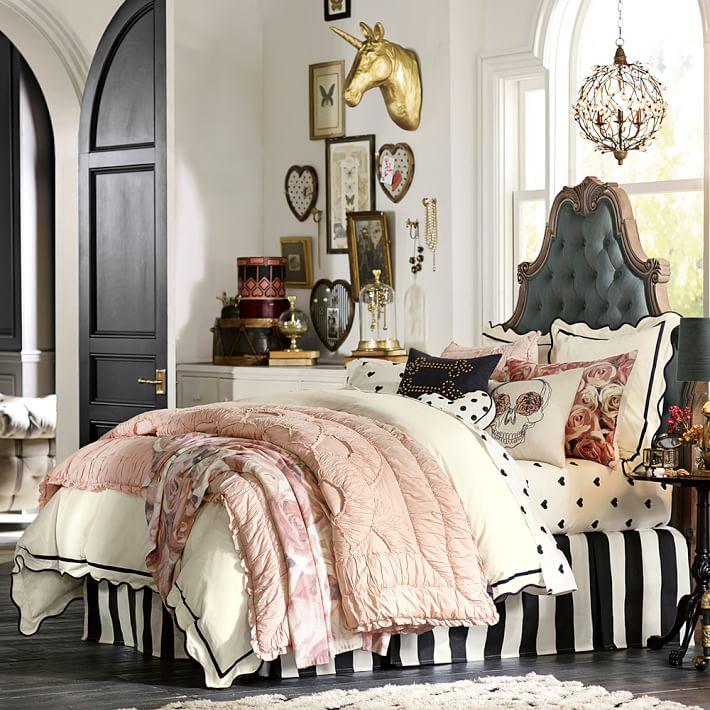 Pottery Barn teen エミリー メリット メタリック スカラップ飾り 枕カバー ユーロサイズ