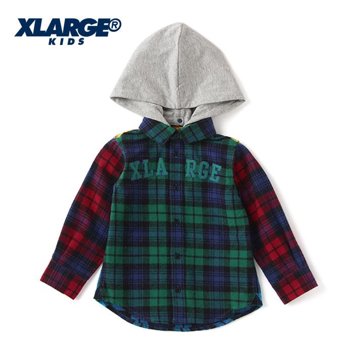 (30%OFF SALE)XLARGE KIDS(エクストララージ キッズ) チェックシャツ-3201【100cm 110cm 120cm 130cm 140cm】【宅配便】