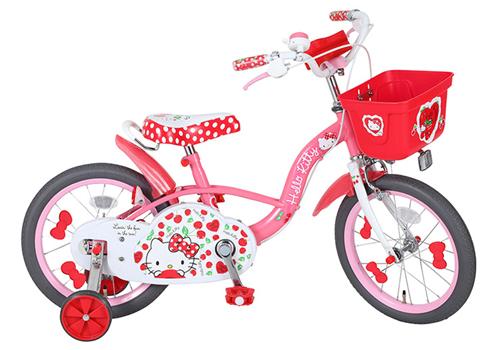 エムアンドエム ハローキティ チェリー 16インチ<完成品>★今なら自転車カバープレゼント!【クレジットOK!】【包装不可】子供用自転車 カジキリ可能!marron