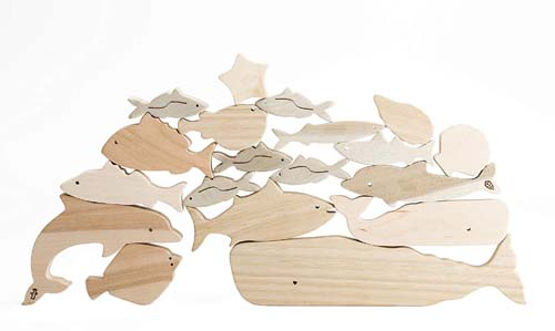 オークヴィレッジ 海のいきものつみき【送料無料(北海道・沖縄を除く)】木のおもちゃmarron