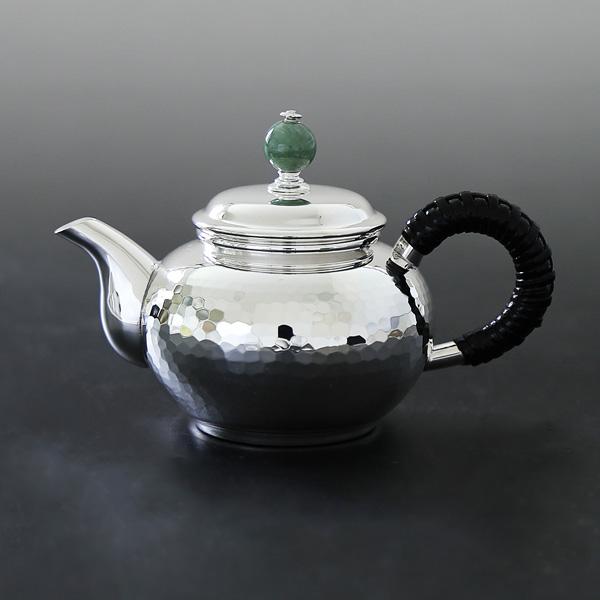 一守堂 純銀 ウーロン茶ポット100cc 翡翠つまみ 重量約150g/父の日