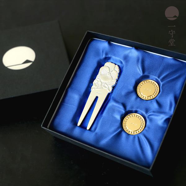 退職祝い プレゼント 男性 上司 ゴルフ プレゼント 一守堂 純銀ゴルフマーカー グリーンフォーク グリーンマーカー コンペ 記念品 is
