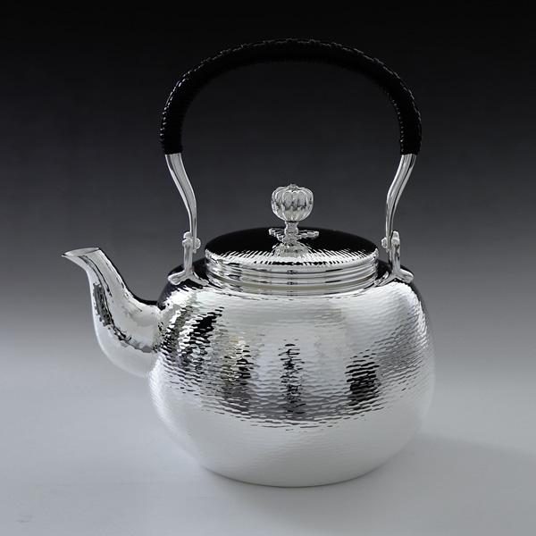 銀川堂 日本製・証明書付き 純銀・湯沸し 1100cc ゴザ目 純銀保証 茶器 茶道具 銀瓶 湯沸かし/母の日