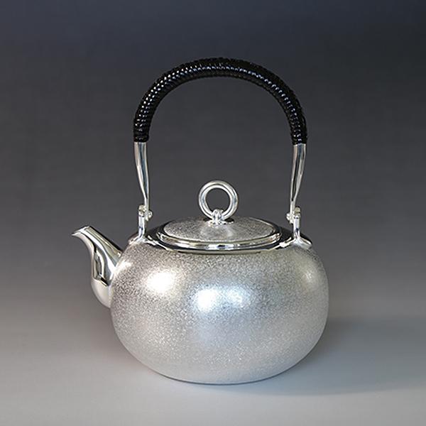 一守堂 純銀・湯沸し600cc梨地・S口・リングツマミ /銀瓶 茶器 茶道具/母の日