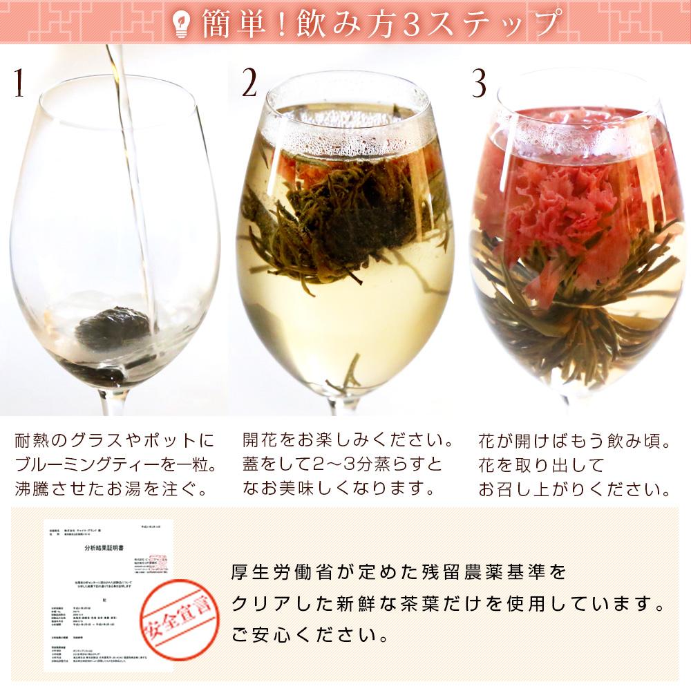 母の日 カーネーション 花 咲く工芸茶5種 詰め合わせ セット ギフト用 プリザーブドフラワーやハーバリウムのようにおしゃれ 誕生日プレゼント バースデー サプライズ ジャスミン茶 メール便