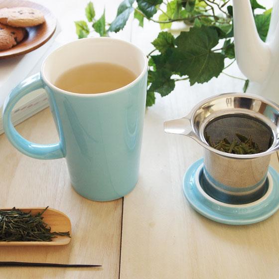 青色陶器のフタ付き茶こしマグ  茶こしマグ/フタ付き/奇高/台湾茶器/中国茶器/茶器/陶器/茶漉し 茶こし付きマグカップ陶器製・青