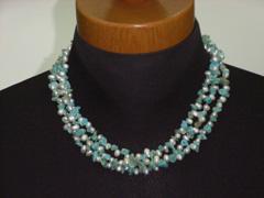 藍松石+淡水真珠 ランキングTOP5 3連組式ネックレス smtb-s セール品