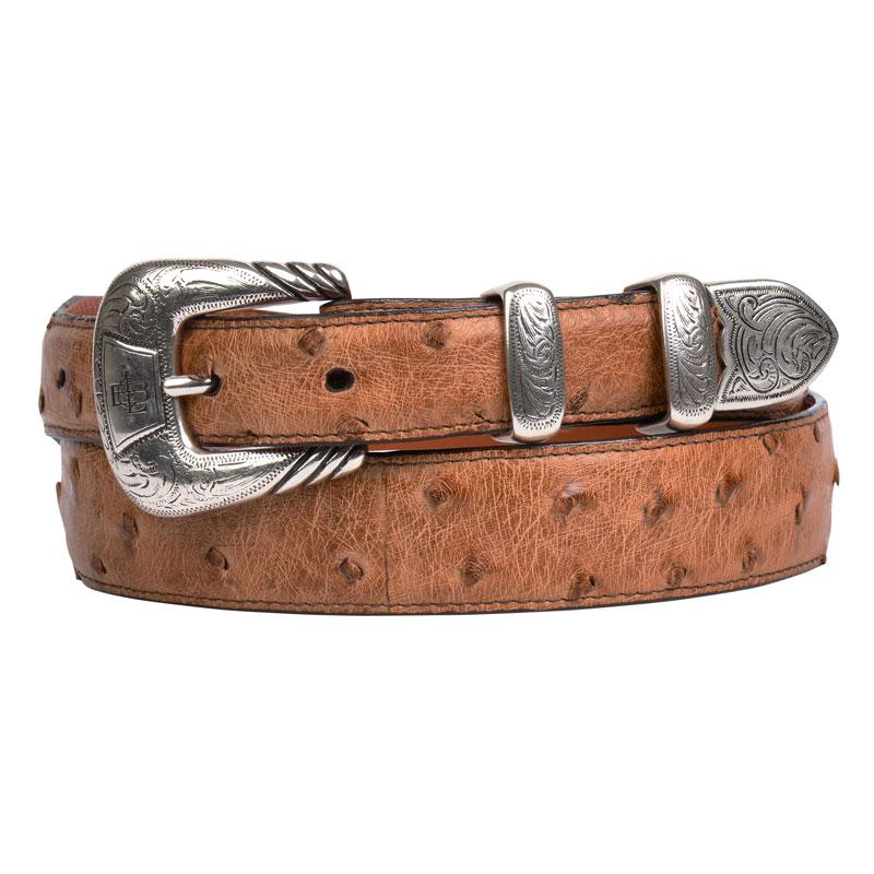 W6132 メンズ タン フルクイル オーストリッチ レザー ウエスタンベルト (サイズ:32~40インチ) ルケーシー【LUCCHESE】