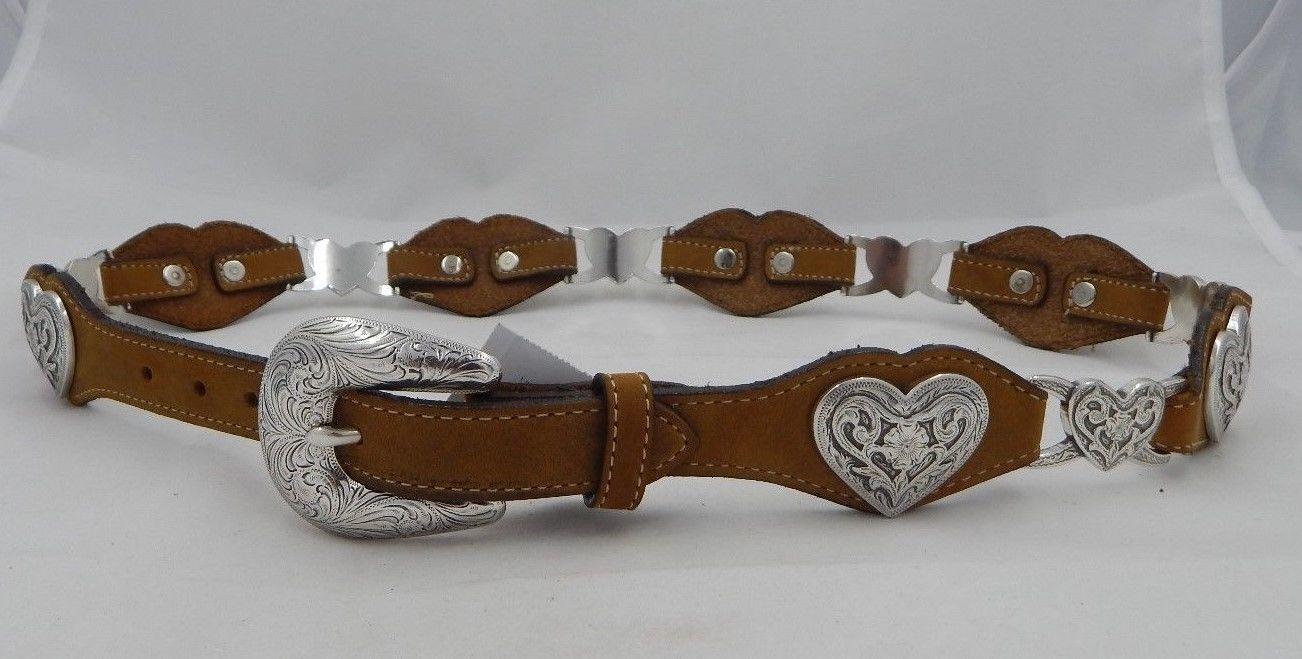 18 5329L Ladys Heart Concho Brown Western Belt Size 26 36 Inches Tony Llama