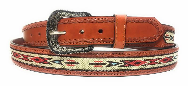 A9MA)NeB3 メンズ ウエスタン リボンレース インレイ タン レザー ベルト ベルト巾:38mm カラー1種類
