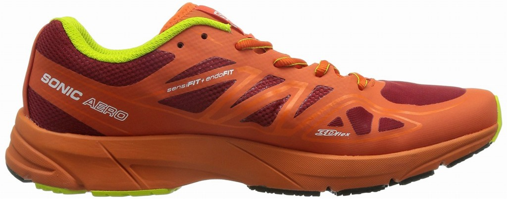 Model in Salomon SONIC AERO flare red ゲッコーグリーン L37951700 running shoes SALOMON2016 year in the fall and winter
