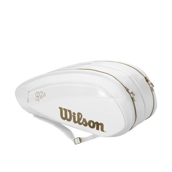 【在庫品】ウイルソン ラケットバッグ フェデラー DNA 12パック ホワイト/ゴールド WR8004401001 2019SS