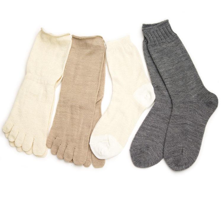 はじめて冷え取りする方に 購買 送料無料お手入れ要らず 重ね履き4足セット 冷え取り 冷えとり ウール シルク 冷えとり靴下 重ね履き 五本指靴下 靴下 スターターセット silk