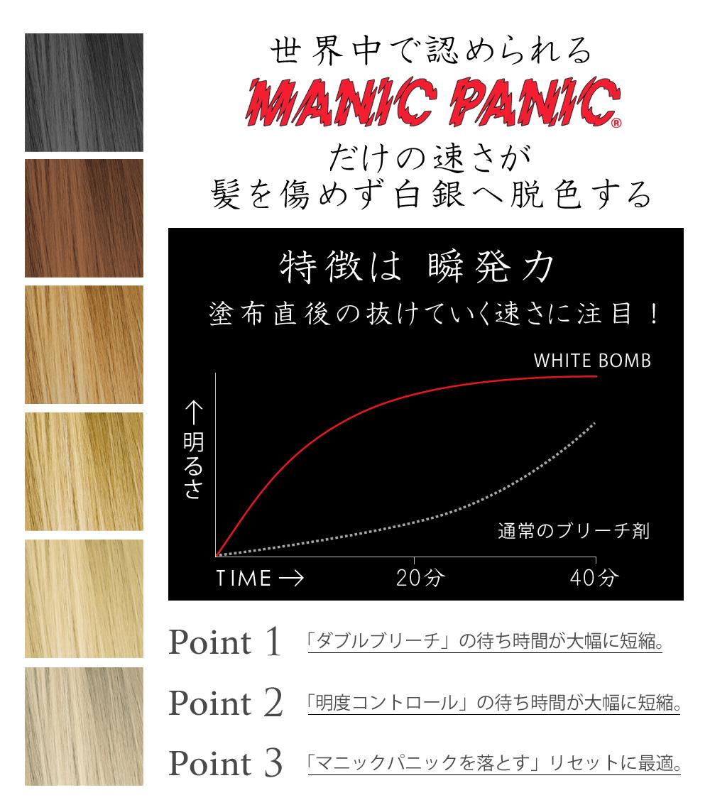 제한 된 マニックパニック MANICPANIC 화이트 폭탄 WHITE BOMB white bomb White Bomb 화이트 블리치 보라색 샴푸 블리치 얼룩 샨 칼라 트리트먼트 붉은 샴푸 간단 헤어 컬러 샴푸, 헤나