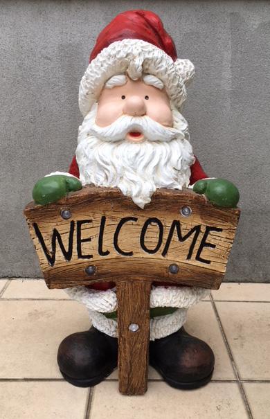 ガーデニング ガーデンオーナメント 置物 オブジェ インテリア かわいい イルミネーション インテリア雑貨 クリスマス ディスプレイ【 ビックサンタ(ウェルカム) 】