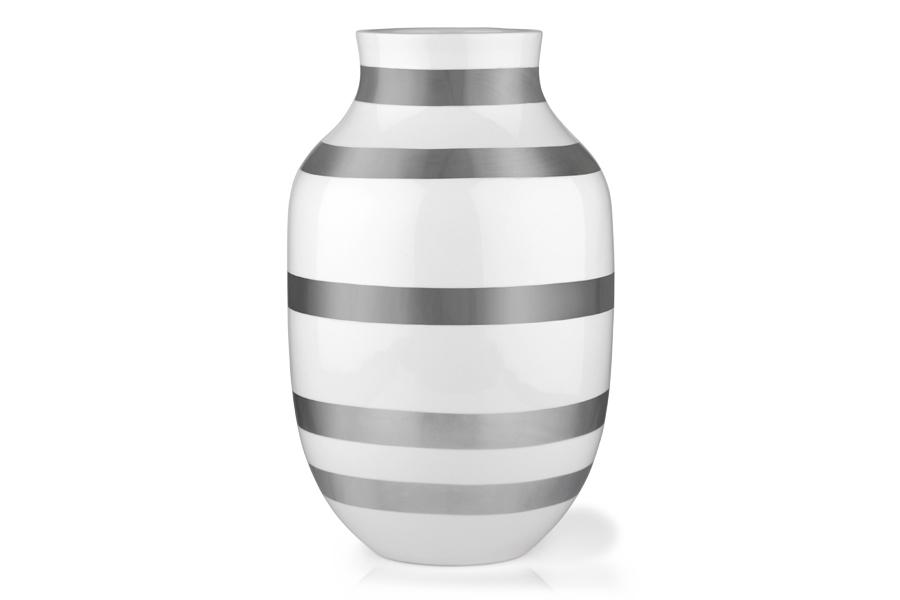 KAHLERケーラー OMAGGIOオマジオ フラワーベース Lサイズ シルバー【北欧雑貨 OMAGGIO 花瓶 デンマーク 陶器 モダン 大きめ 玄関 一輪挿し ボーダーデザイン】