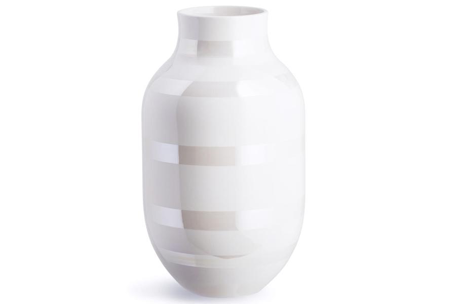 KAHLERケーラー OMAGGIOオマジオ フラワーベース Lサイズ パール【北欧雑貨 OMAGGIO 花瓶 デンマーク 陶器 モダン 大きめ 玄関 一輪挿し ボーダーデザイン】