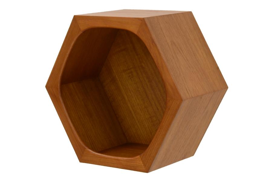 CHLOROSクロロス Hexagon コネクトウォールシェルフ【ウォールシェルフ 壁掛け ヘキサゴン ディスプレイシェルフ 組み合わせ 収納 北欧家具 デザイン チーク無垢材 チーク材 天然木 おしゃれ シンプル 高品質 おすすめ】