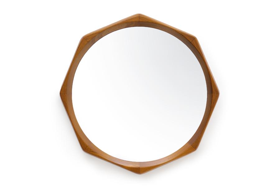 CHLOROSクロロス チーク無垢材を使用した八角形のウォールミラー【天然木 木製 北欧雑貨 インテリア おしゃれ ナチュラル デンマーク ビンテージ ヴィンテージ 鏡 ミラー 洗面所】