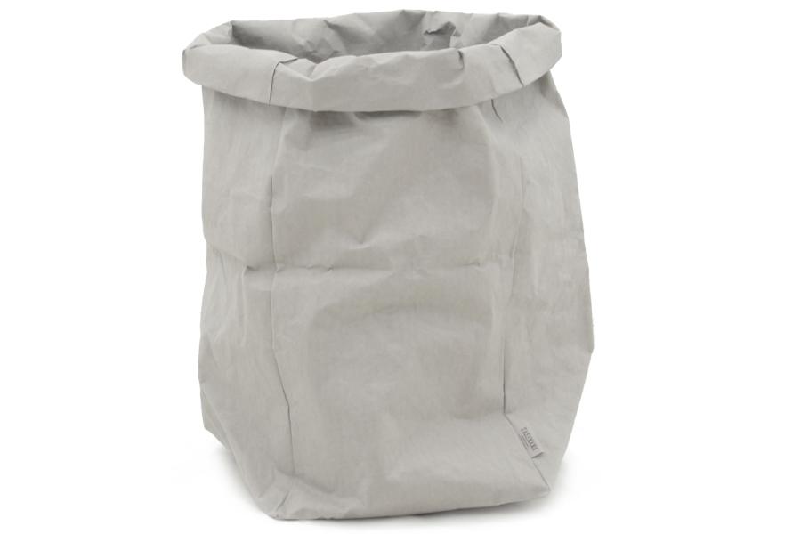 UASHMAMA セルロース 100% 洗えるペーパーバッグ GIGANTEサイズ モノクロ 45×45cm【イタリア製 ハンドメイド おしゃれ 収納袋 かご 果物 野菜 花 モノトーン ナチュラル 北欧 小物入れ】