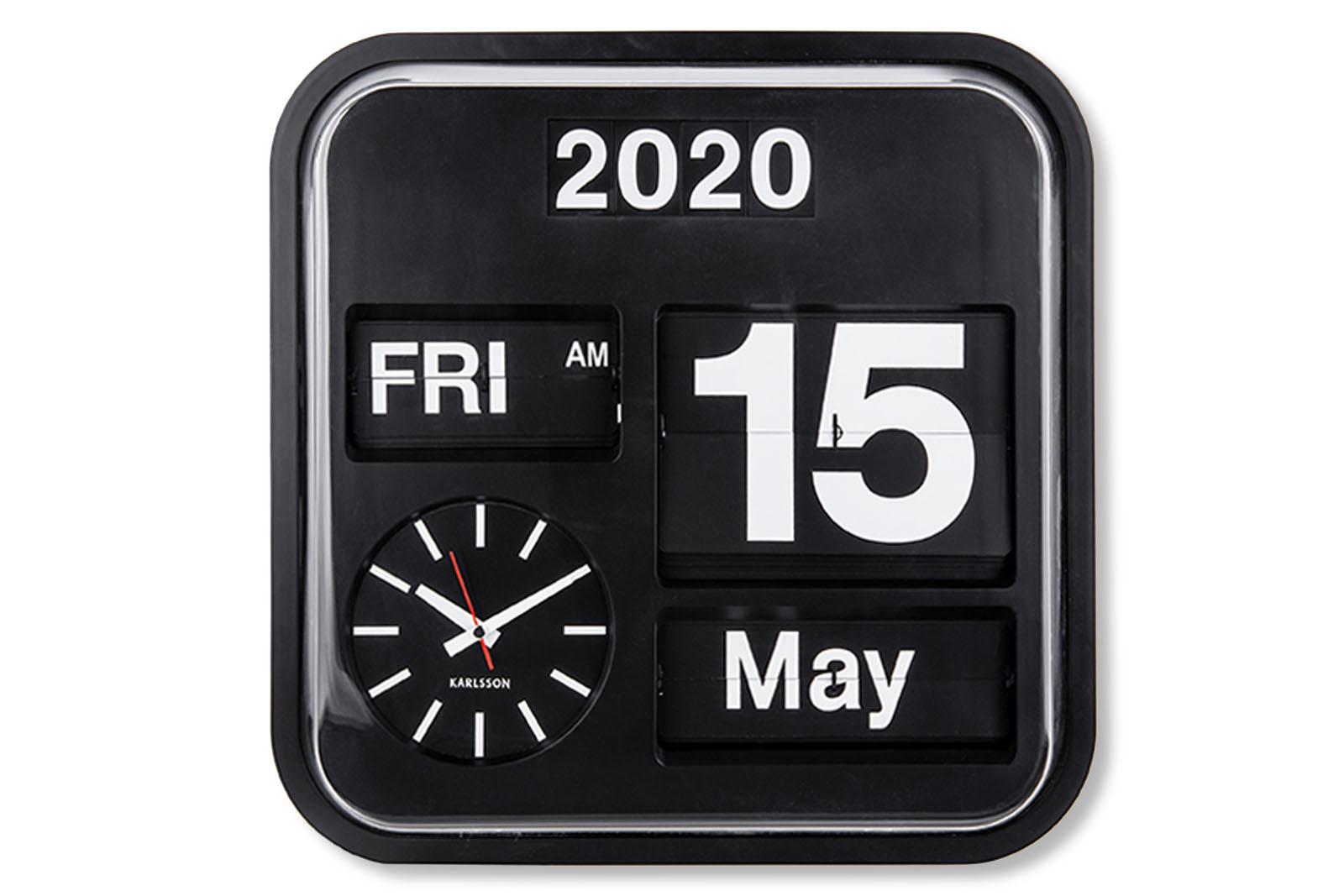 KARLSSONカールソン 掛け時計 ウォールクロック Big Flip パタパタ時計 フリップクロック ブラック 北欧 ☆最安値に挑戦 オランダ 美品 カールソン インテリア カレンダー デザイン時計 デザイナーズ リビング雑貨 KARLSSON シンプル モノトーン モノクロ おしゃれ