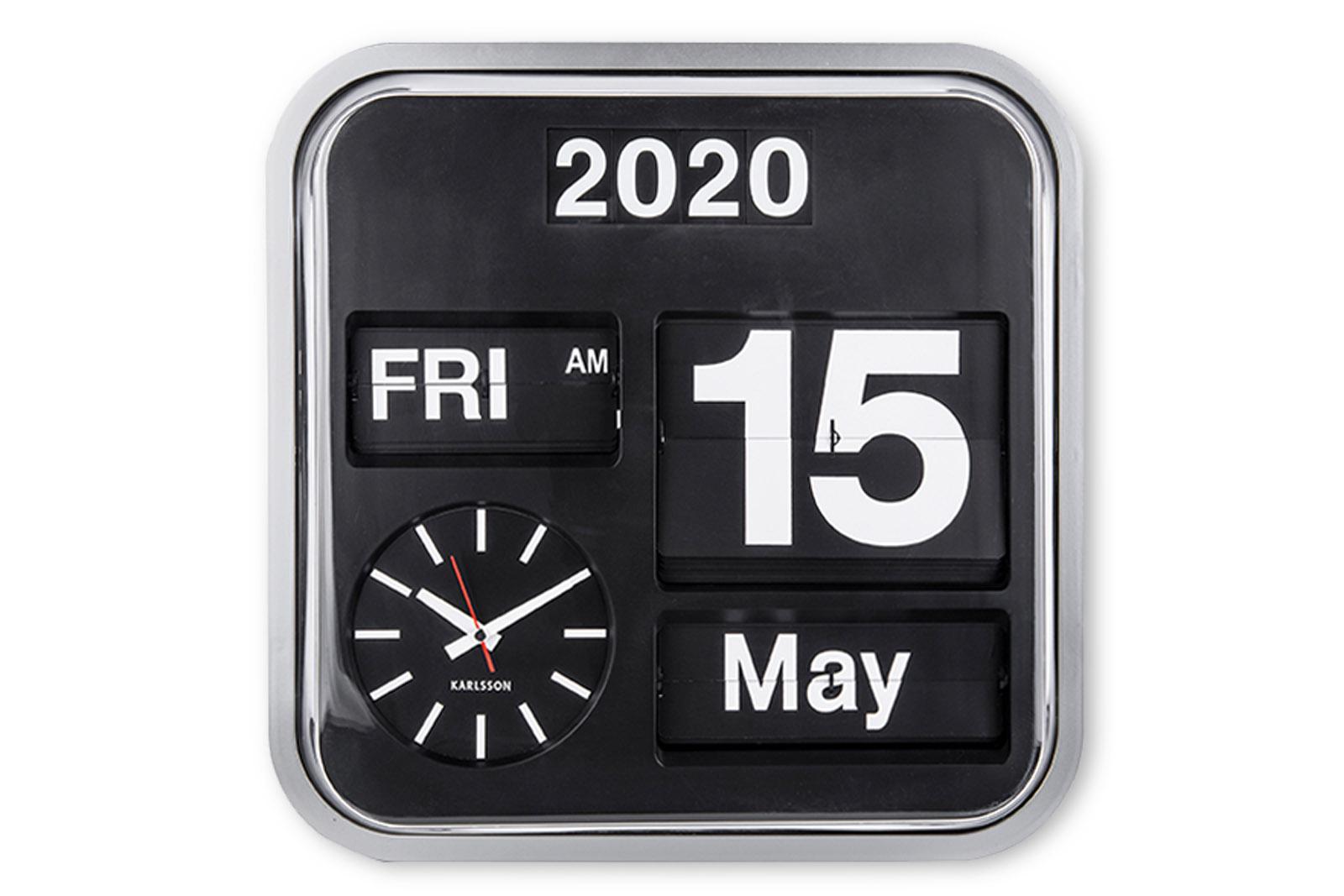 KARLSSONカールソン 掛け時計 ウォールクロック Big Flip パタパタ時計 フリップクロック ホワイト 北欧 オランダ カールソン カレンダー おしゃれ インテリア リビング雑貨 モノトーン シンプル デザイナーズ モノクロ オンライン限定商品 デザイン時計 再入荷/予約販売! KARLSSON
