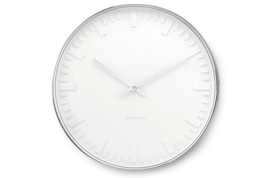 Present Timeプレゼントタイム ウォールクロック Mr. White station 直径51cm【Karlsson カールソン おしゃれ モノトーン オランダ 北欧雑貨 インテリア 壁掛け時計 リビング雑貨 デザイン時計 デザイナーズ時計 】
