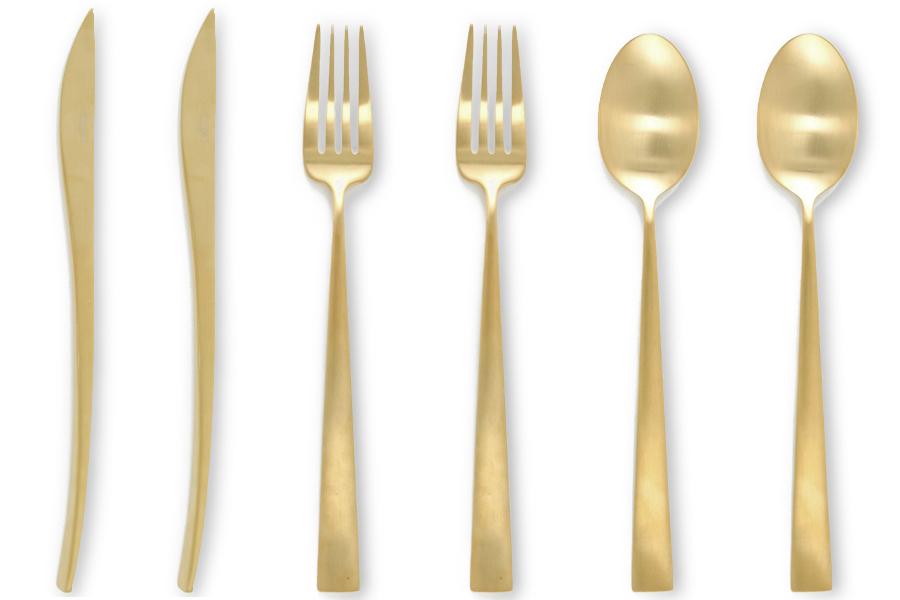 Cutipolクチポール DUNA カトラリーセット6PCS マットゴールド【Gold スプーン フォーク ナイフ キッチン用品 おしゃれ ヨーロッパ ギフト 食器】