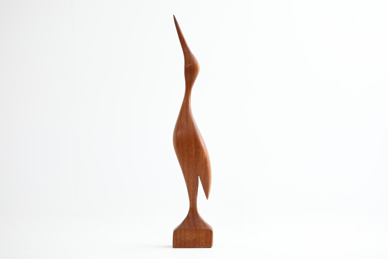北欧ビンテージ雑貨 チーク材無垢材でできた鳥のアートピース/オブジェ 高さ36cm【北欧雑貨 ビンテージ雑貨 アンティーク品 置物 オブジェ 天然木 インテリア アートピース】