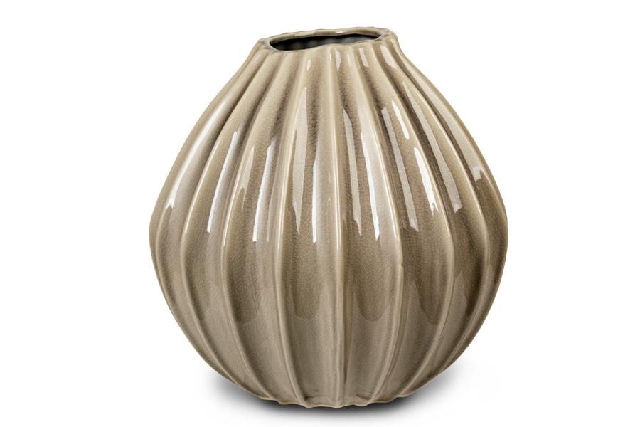 Broste Copenhagenー 陶磁器製のフラワーベース WIDE Lサイズ 高さ30cm グレー【北欧雑貨 デンマーク 花瓶 リビング雑貨 置物 おしゃれ モノトーン フラワーベース】