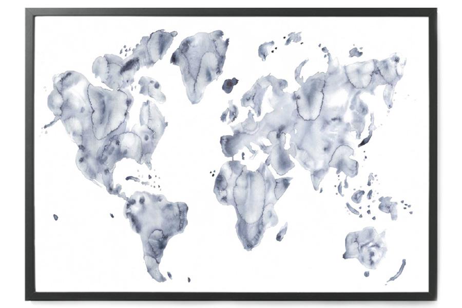 silke bonde ポスター/アートプリント 70×100cm Blue world【デンマーク イラスト インテリア 北欧雑貨 おしゃれ 壁掛け 絵画 パネル モダン モノクロ モノトーン】