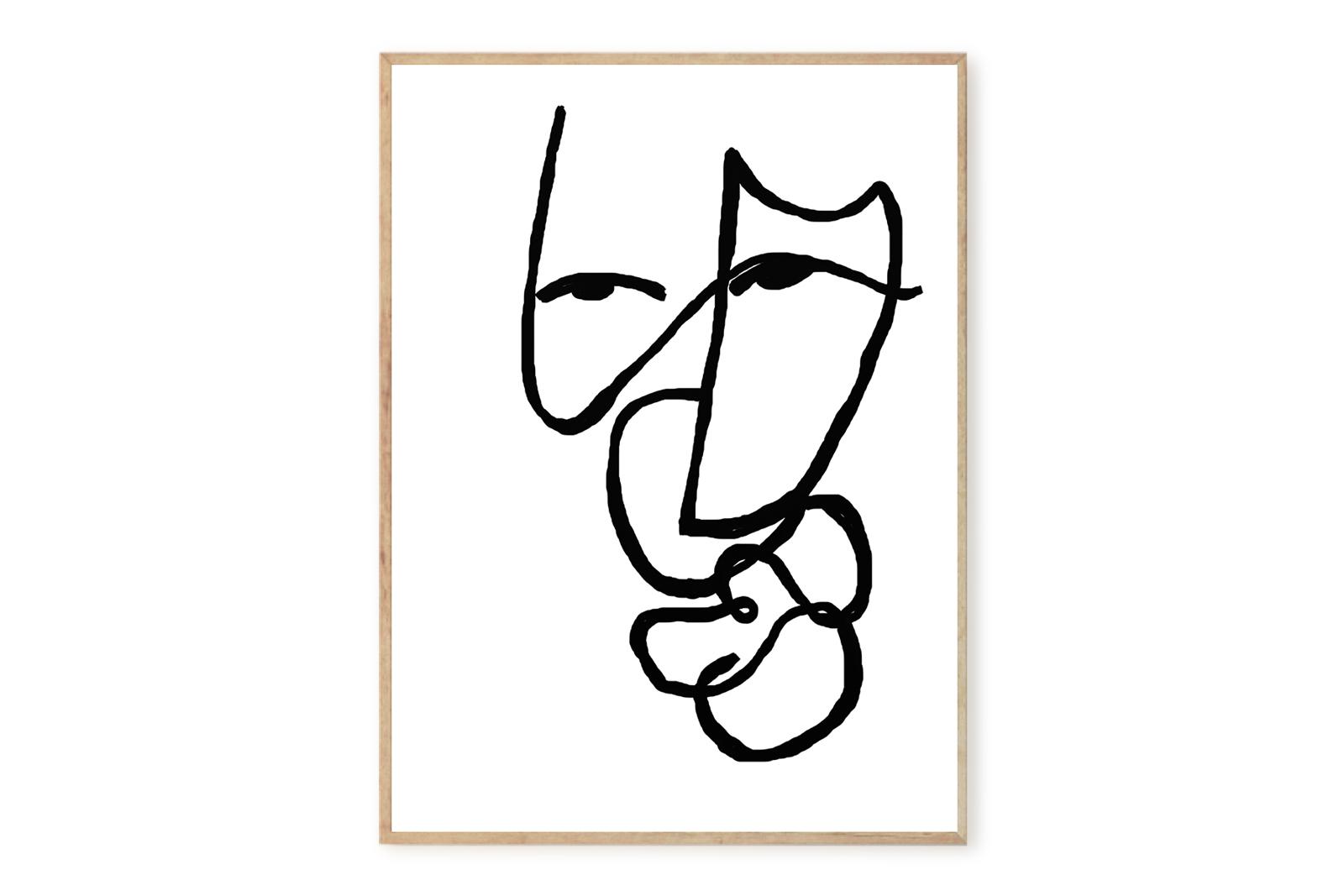 THE POSTER CLUB × Lisa Wirenfelt ポスター/アートプリント 50×70cm Dagny【イラスト インテリア 北欧雑貨 おしゃれ 壁掛け 絵画 パネル モダン モノクロ モノトーン デンマーク コペンハーゲン】