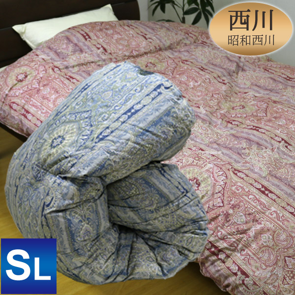 昭和西川 2層キルト羽毛掛ふとん ハンガリー産ホワイトダックダウン93% シングルロング 150×210cm ダウンパワー400cm3/g以上 詰め物重量1.2kg 日本製 ブルー・ピンクの選べる2色の柄(NY689柄)