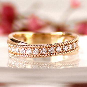 K10 ダイヤモンド 計0.21ctダイヤ 2連風 一文字 リング ジュエリー アクセサリー レディース 指輪 リング 大人 可愛い プレゼント クロスデザイン 重ね付け風