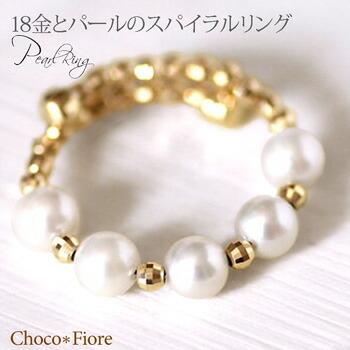 【パール リング】K18 ゴールド アコヤ パール スパイラル リング 18金 真珠 指輪 フリーサイズ S M L LL/K18 あこや真珠 カジュアル 在庫有り