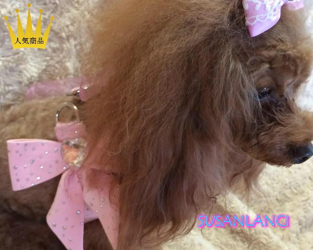 【SUSANLANCI スーザンランシー】ハート スワロフスキー ハーネス セレブ愛用 犬用品 姫系 リボン 超小型犬 小型犬