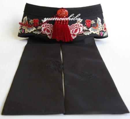 韓国シルク手刺繍牡丹アヤン黒■ayan-11-s【ギフト】【お土産】