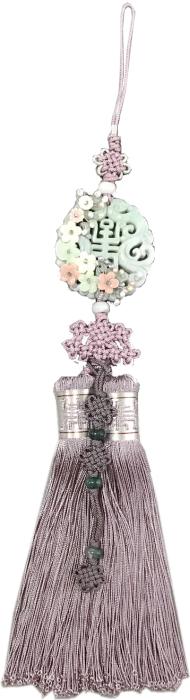 シルク手彫り新翡翠とパール花装飾スモーキーパープル■norige-h-60-s【ギフト】【お土産】